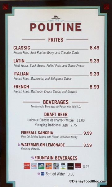 The Daily Poutine menu