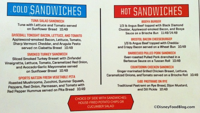 Cold and Hot Sandwiches Menu