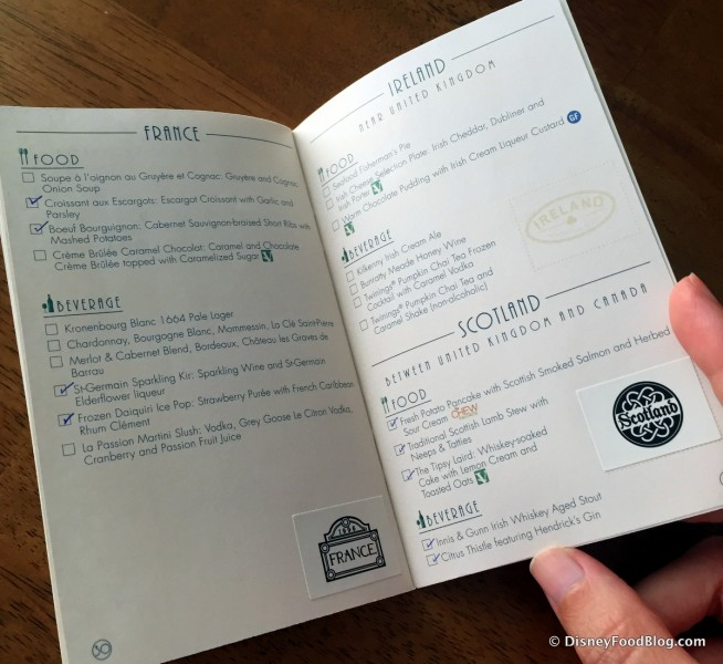 2016 Epcot Food and Wine Festival Passport