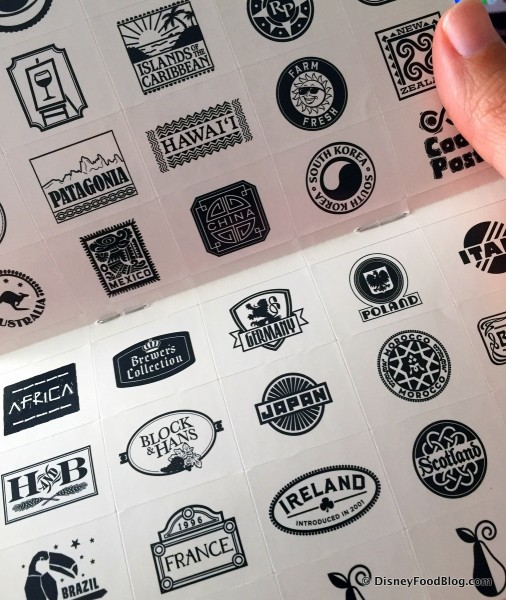 2016 Epcot Food and Wine Festival Passport Stickers
