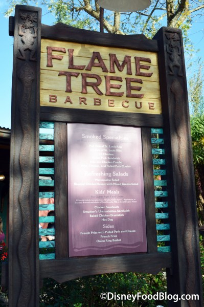 Flame Tree Barbecue Menu Sign