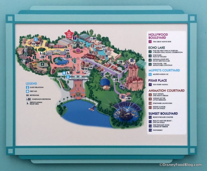 Updated Map of Hollywood Studios with Muppets Courtyard
