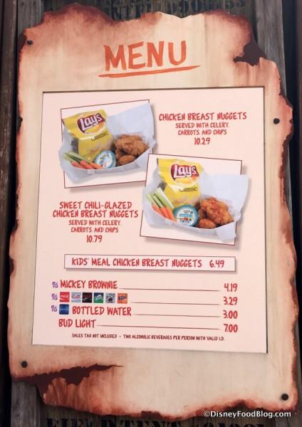 Oasis Canteen menu