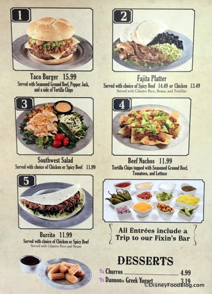 Pecos Bill's menu