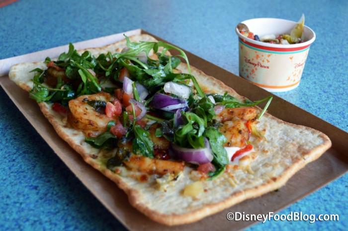 Shrimp Flatbread with Antipasto Salad!