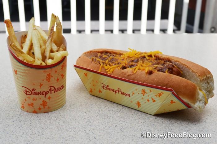 Chili Cheese Hot Dog and Fries