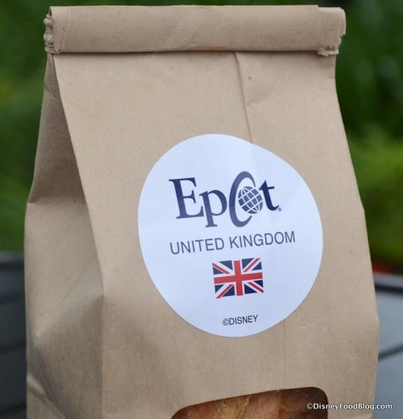 United Kingdom sticker on bag