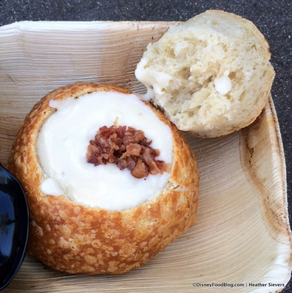 White Cheddar Ale and Bacon Soup in a Bread Bowl