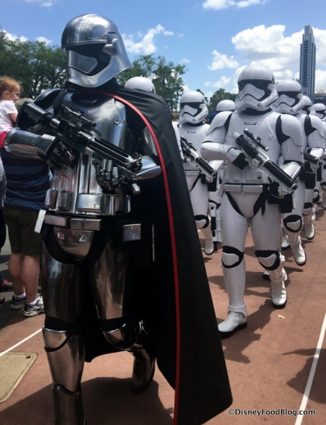 Captain Phasma leading First Order Stormtroopers