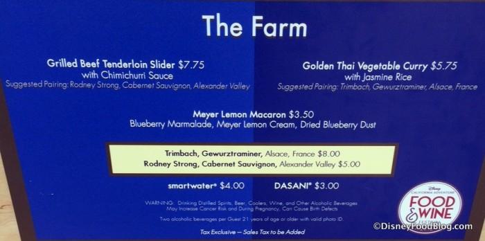 The Farm Booth Menu