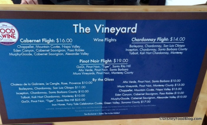 The Vineyard Menu 2016 Disney California Adventure Food and Wine Festival
