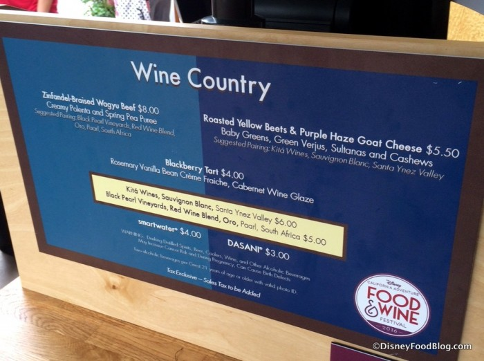 Wine Country Menu