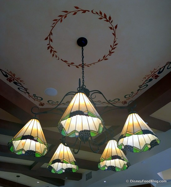 Stained Glass Chandelier and Ceiling Details