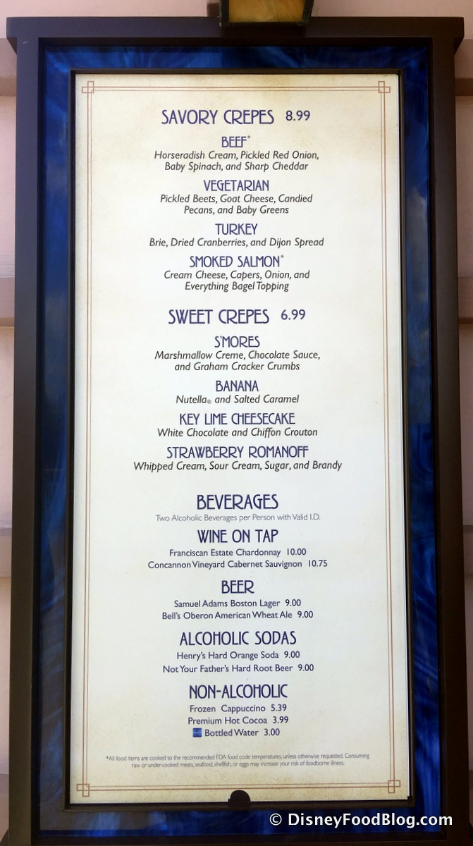 Franciscan Well Food Menu