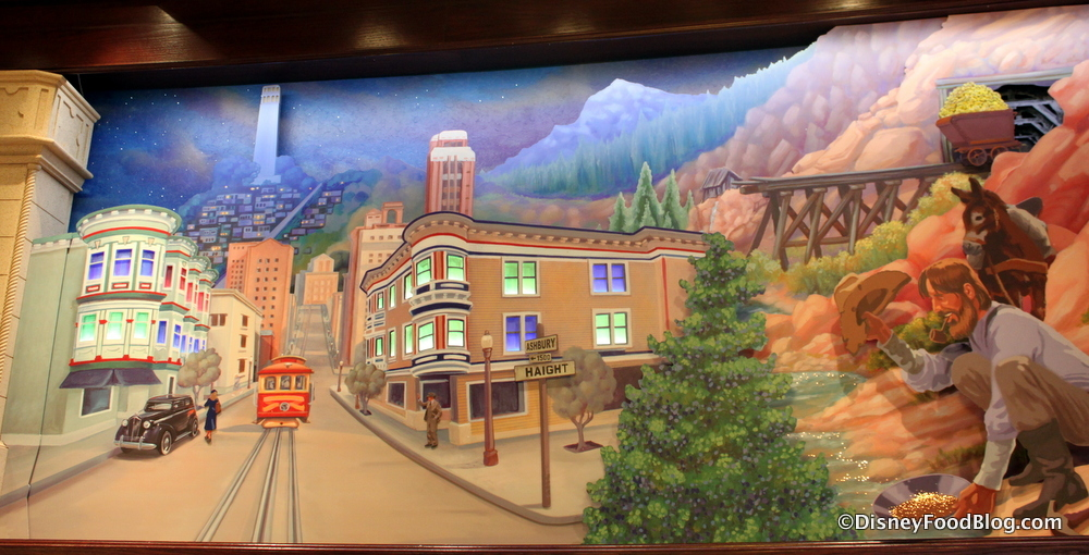 Review the earthquake sundae and more at ghirardelli for California mural