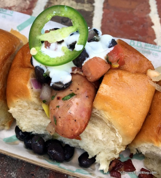 Bacon-wrapped with Black Bean Salsa Sausage in The 3 Little Pigs Sampler