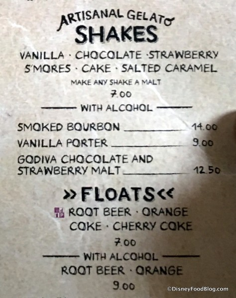 Shakes and Floats menu
