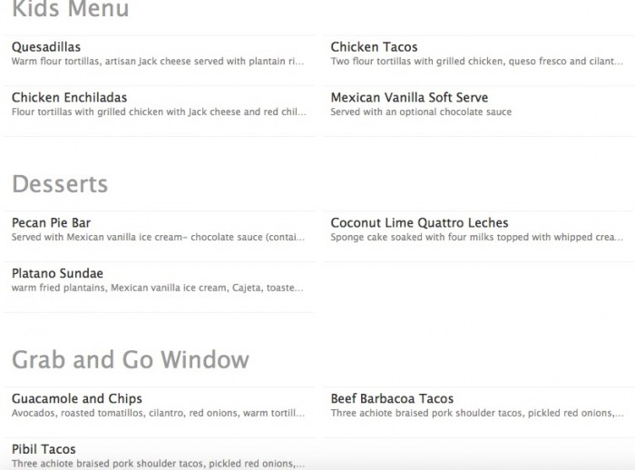 Kids, Dessert, and To-Go Menus