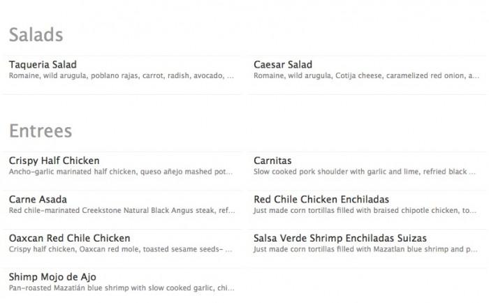 Salad and Entree Menus