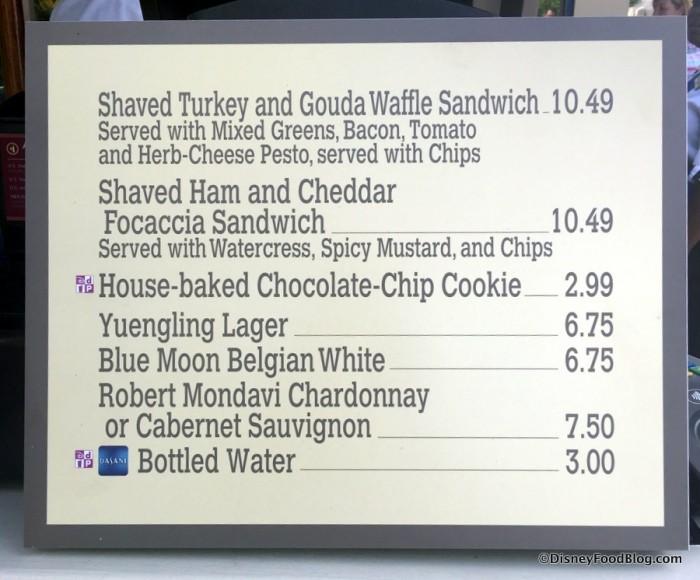 Hollywood Waffles of Fame menu