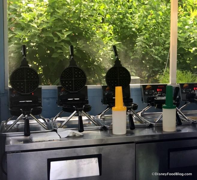 Wafflemakers inside the kiosk