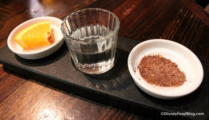 Mezcal Shot Served with Grasshopper Salt