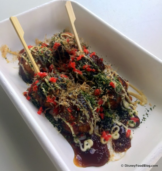 First look and review morimoto asia street food at disney springs takoyaki octopus fritters forumfinder Choice Image