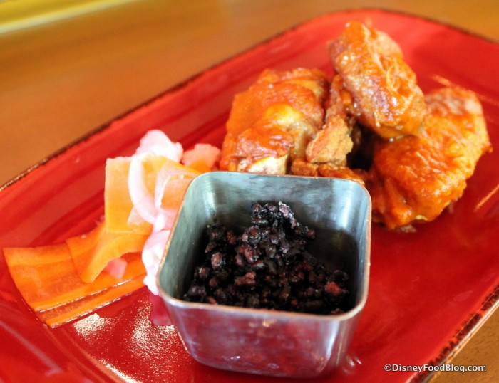 Crispy Black Rice with Indian Butter Chicken Wings