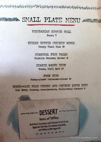 Small Plates menu