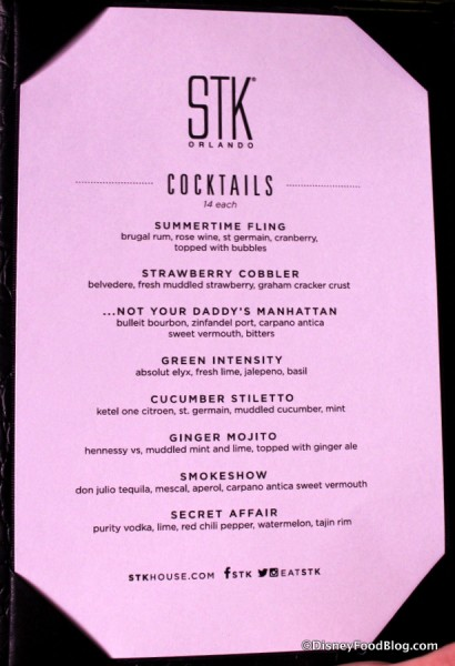 STK Cocktail Menu