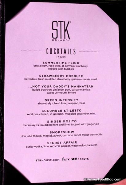 STK Cocktail Menu