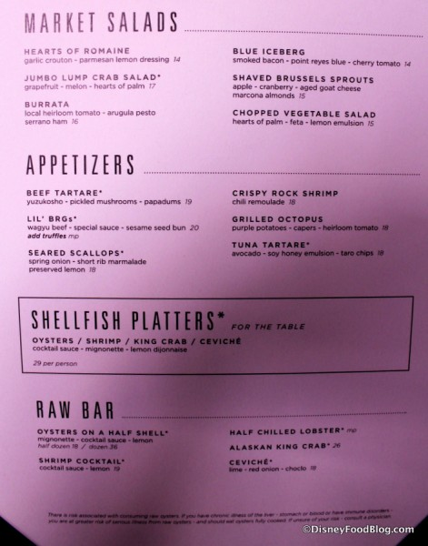 Appetizer and Raw Bar Menu