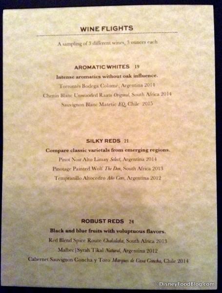 Wine Flight Menu -- Click to Enlarge