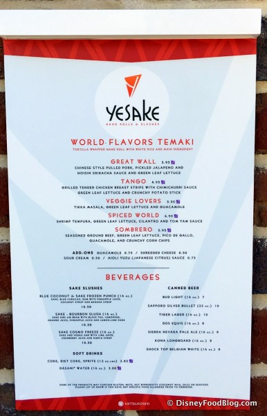 YeSake Menu -- Click to Enlarge