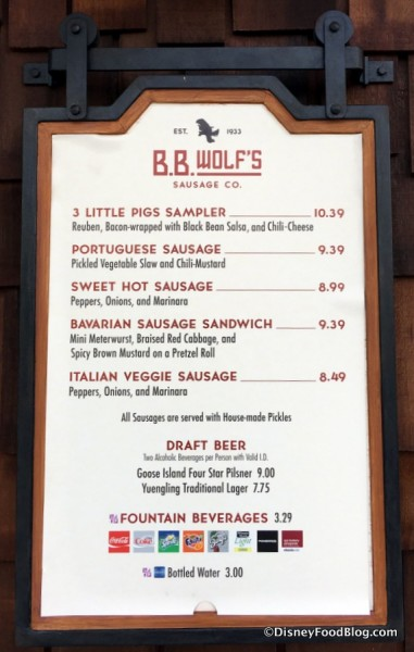 B.B. Wolf's Sausage Co. menu
