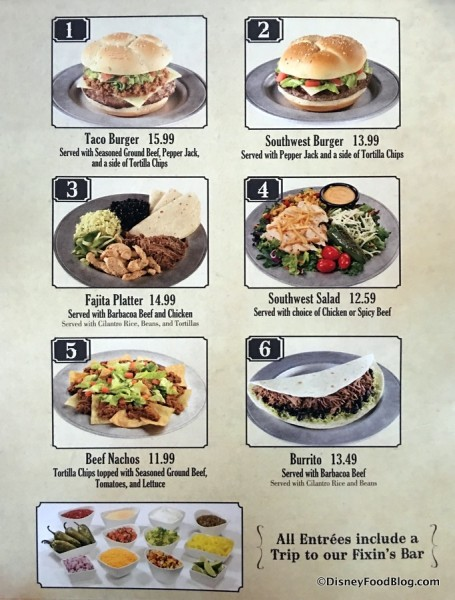Pecos Bill Tall Take Inn and Cafe menu