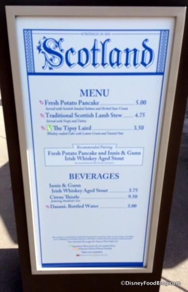Scotland Menu