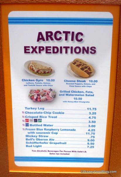 Arctic Expeditions Menu
