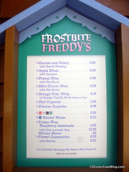 Frostbite Freddy's Menu