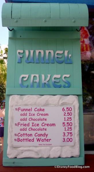 Funnel Cake Stand Menu