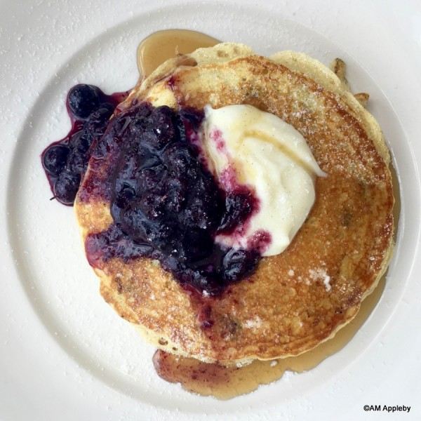 Blueberry Pancakes with Blueberry Compote and Canadian Maple Syrup