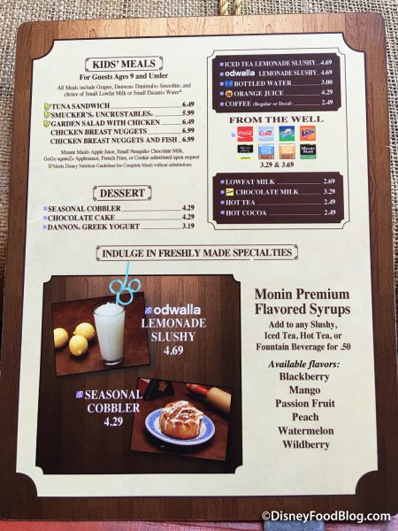 Columbia Harbour House drink menu