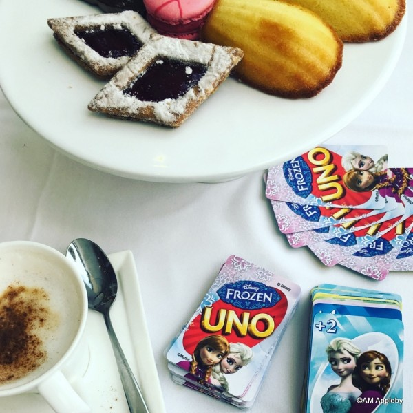 Enjoying dessert and Frozen Uno