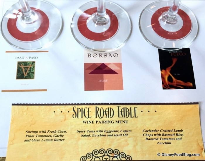 Wines and Menu -- Click to Enlarge
