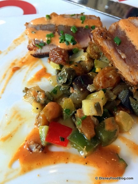 Spicy Tuna with Eggplant, Capers Salad, Zucchini, and Basil Oil -- The Salad Beneath