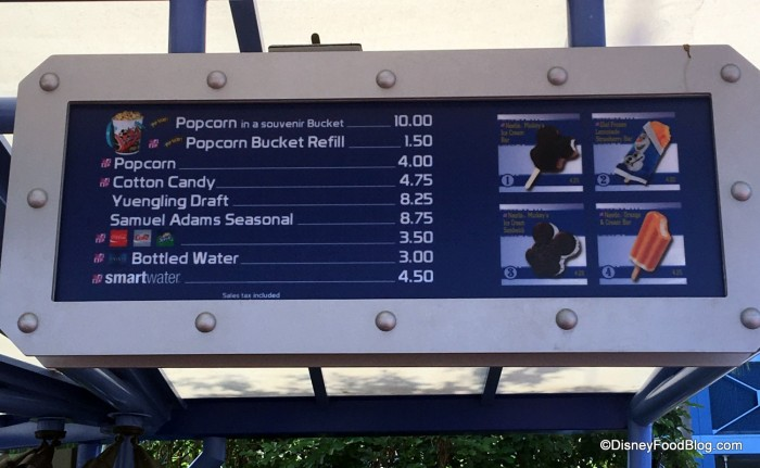 Future World Popcorn Stand Menu