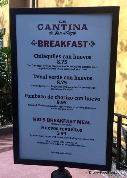 La Cantina Breakfast Menu