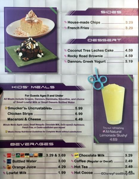 Tomorrowland Terrace Menu 2 -- click to enlarge