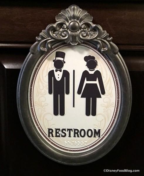 Restroom sign at AbracadaBar