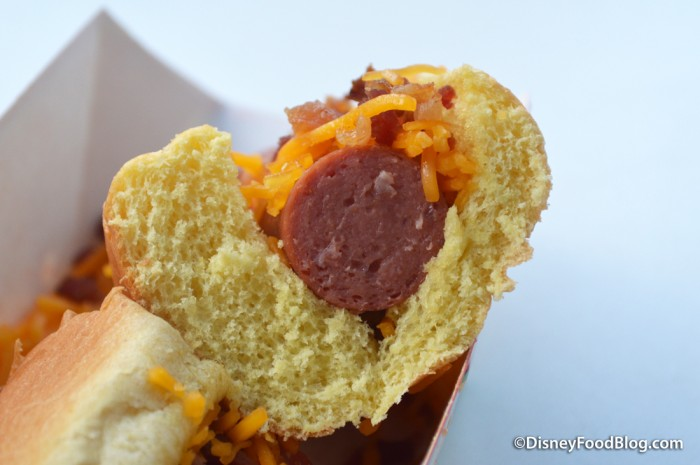Bacon Cheddar Hot Dog Cross-Section